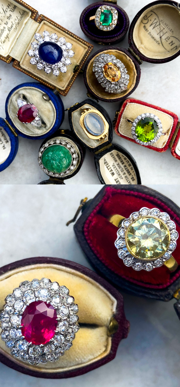 Glorious colored gemstone cocktail rings from Audry & Wolf vintage jewelry. I love those antique rings boxes, too!