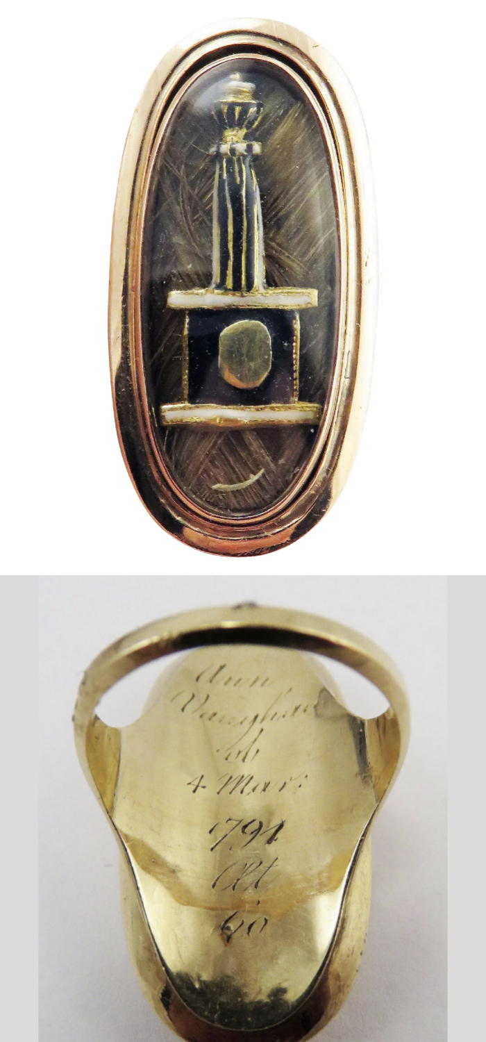 Rare Neoclassical mourning ring with column, plinth, urn, and hair. Circa 1794. From Aesthetic Engineering Fine Jewels and Antiques on Ruby Lane.