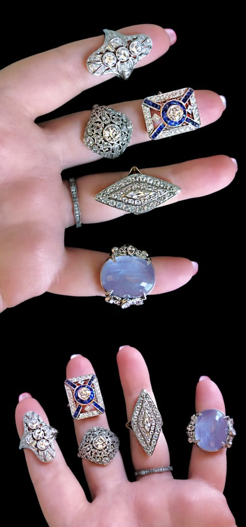 Stunning antique Art Deco and Edwardian era rings from Wilson's Estate Jewelry. Diamonds and sapphires!