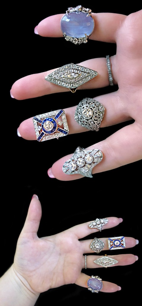 Stunning antique Art Deco and Edwardian era rings from Wilson's Estate Jewelry. With diamonds and sapphires. .