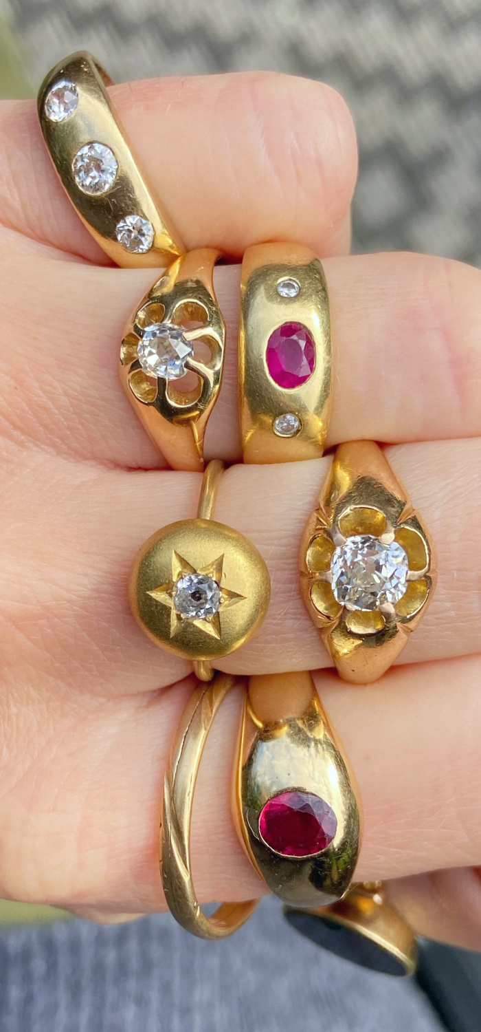 Thick gold rings are trendy now, but you can find the same look in vintage and antique rings! I love these flush set low profile mountings. From Audrey & Wolf.