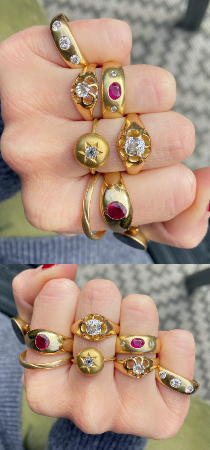 Thick gold rings are trendy now, but you can find the same look in vintage and antique rings! These low mountings are sometimes called Gypsy set or gypsy rings. From Audrey & Wolf.