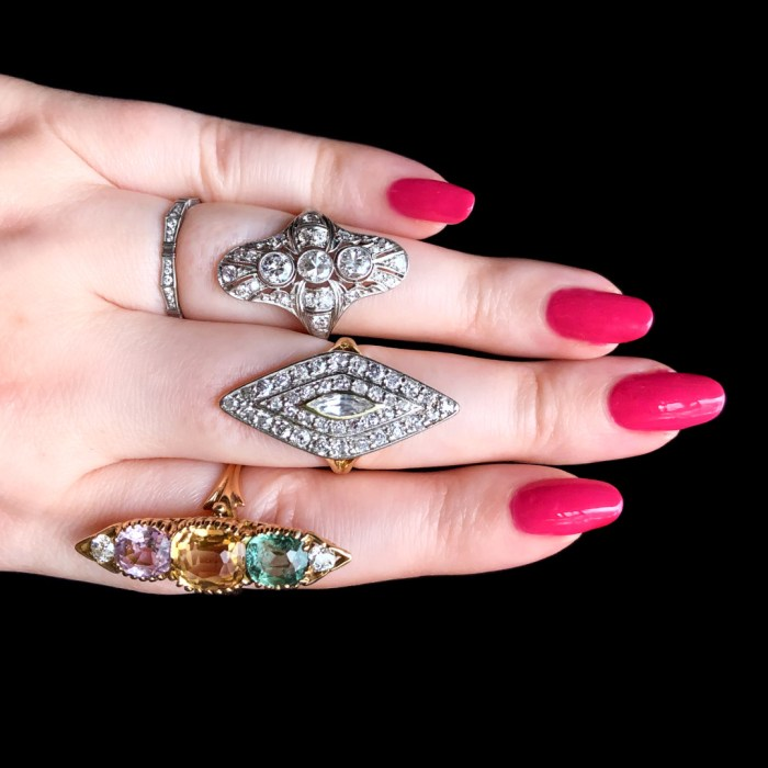 Three stunning antique navette rings from Wilson's Estate Jewelry! Art Deco, Edwardian, and Victorian.
