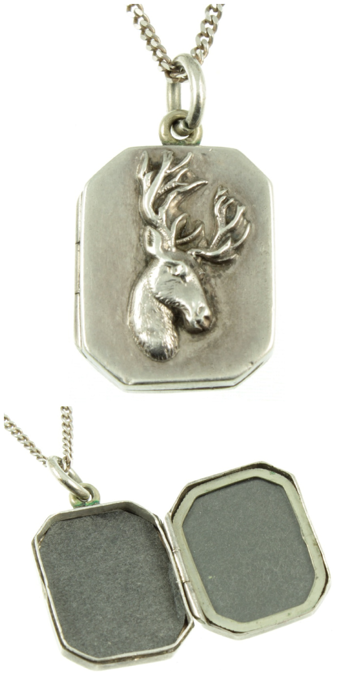 A Victorian era silver stag locket from Carus Jewellery.