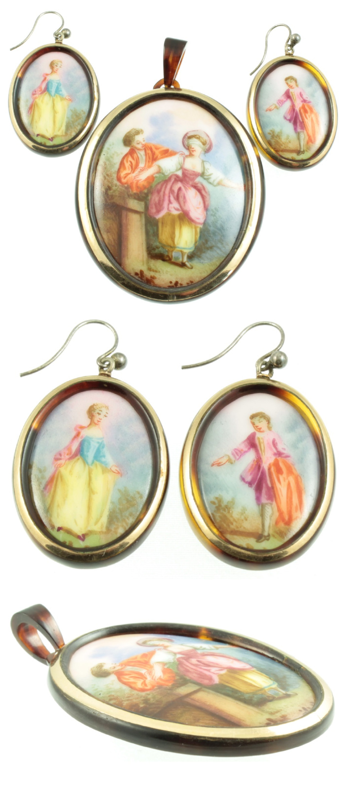 A beautiful Victorian era pendant and earring set with matching hand painted cameos. From Carus Jewellery.