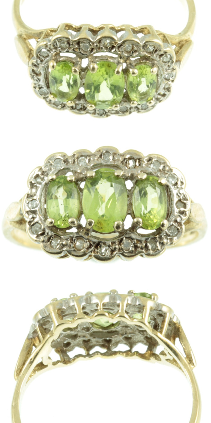A peridot and diamond ring from Carus Jewellery.
