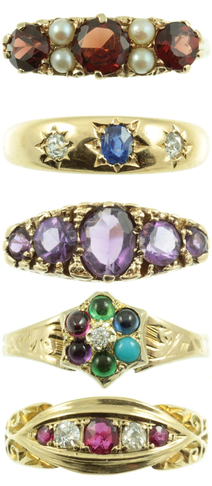 A variety of beautiful antique rings from Carus Jewellery.