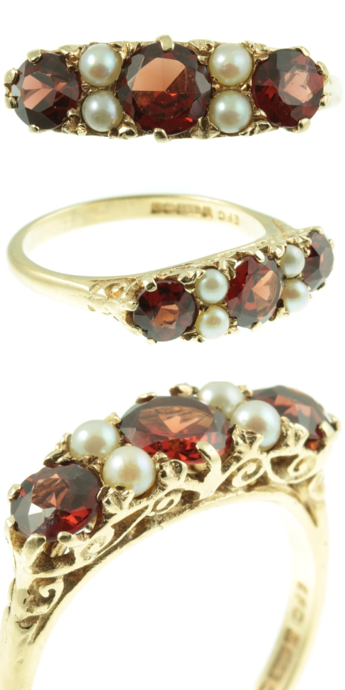 Antique Victorian era garnet and diamond ring from Carus Jewellery. Look at those beautiful side details!