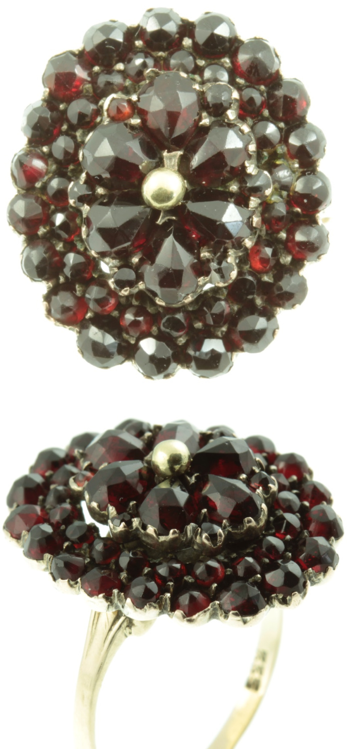 Garnet cluster ring from Carus Jewellery.