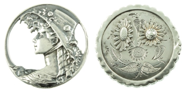 Two antique silver brooches from Carus Jewellery.
