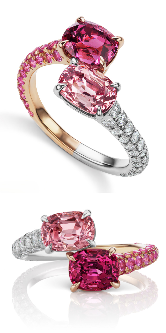 A beautiful pink Toi et Moi Ring by Alexia Connellan! Pink and magenta spinel with diamonds and pink sapphires in rose gold and platinum.