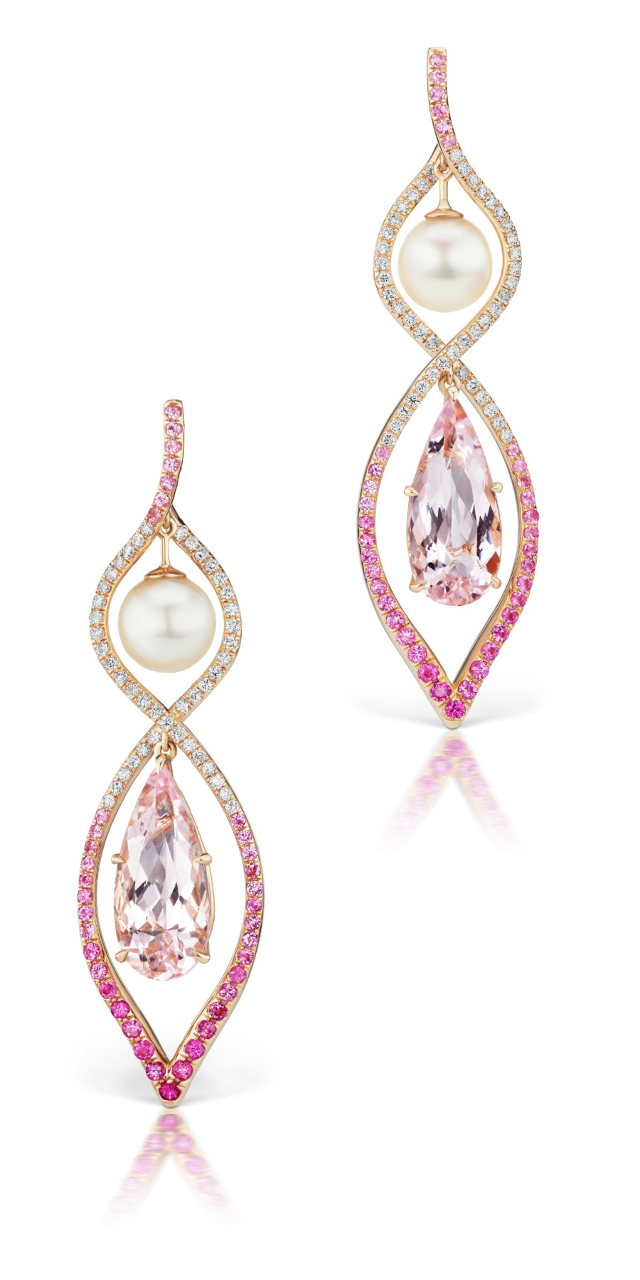 Spiral earrings by Alexia Connellan, with morganite, pink sapphire, and akoya pearls.