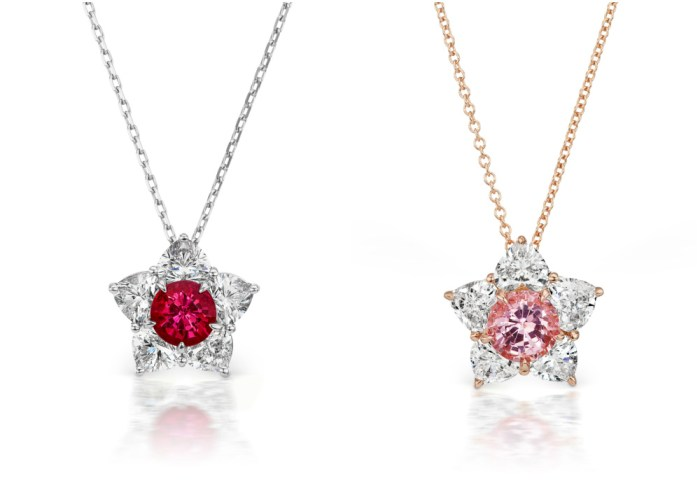 The Princess of Hearts and Queen of Hearts necklaces by Alexia Connellan. Biurmese ruby and pink spinel with diamonds.