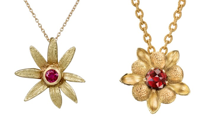 Flower pendants by Space 85, one by Sandrine B Jewelry and one by Lori Anne.