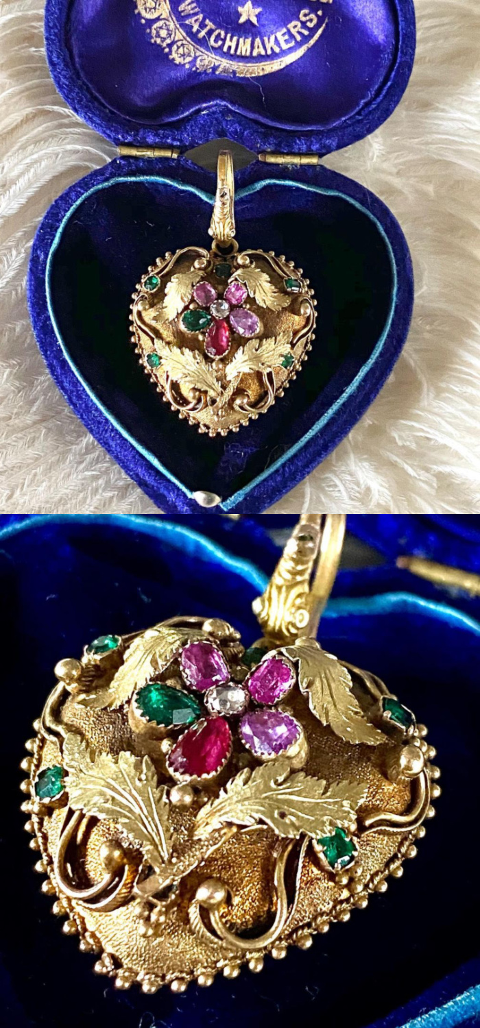 A beautiful Georgian era pendant and an acrostic jewel with a pansy that seplls REGARD in gems. Circa 1800, from Fable & Windsor.