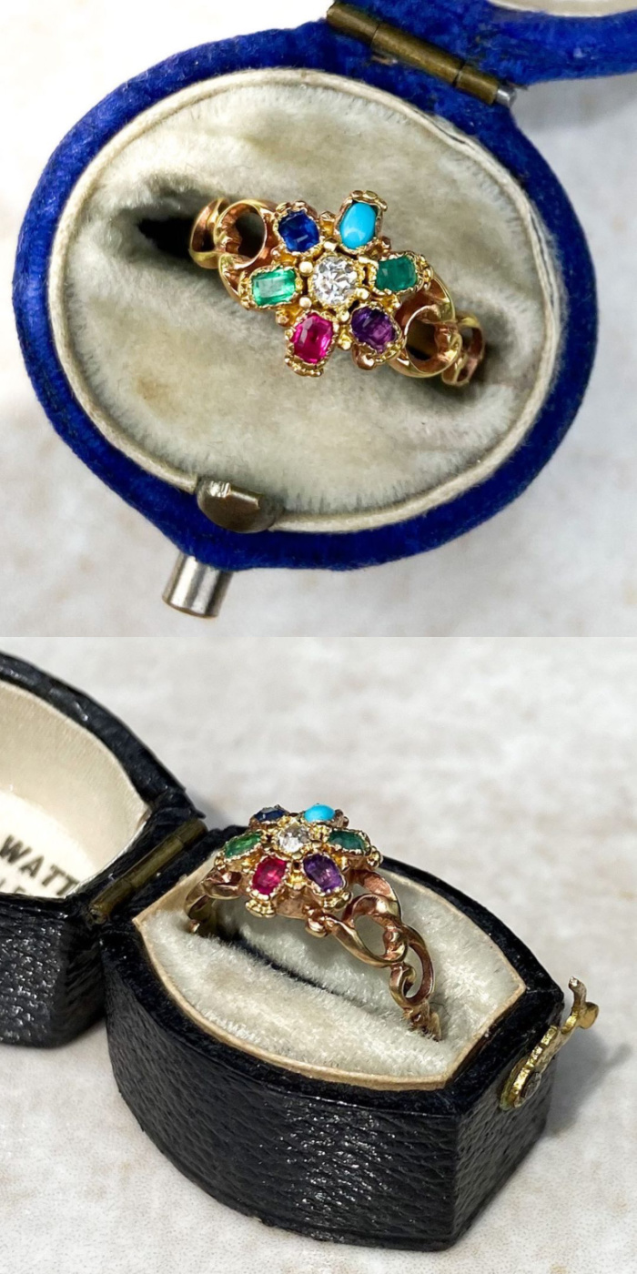 Antique acrostic ring from the Victorian era. The gems in the flower spell out DEAREST. From Audrey & Wolf.