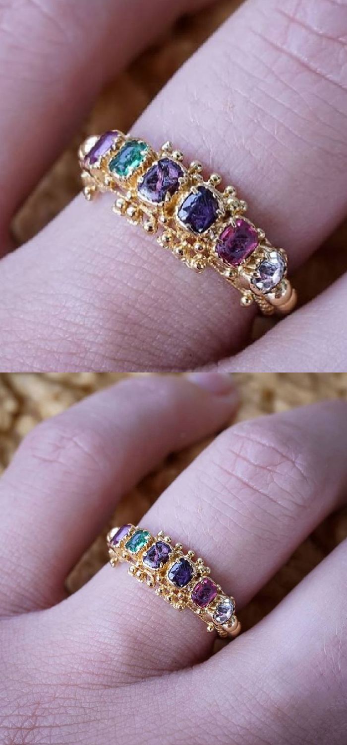 Antique late Georgian acrostic ring. The gems in this piece spell out REGARD, a secret message of love. From Nalfies.