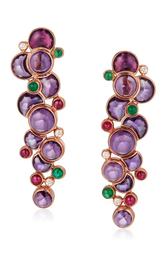 Dreamy Michele della Valle earrings with cabochon amethysts, round cabochon emeralds and rubies, round diamonds, and 18k rose gold,