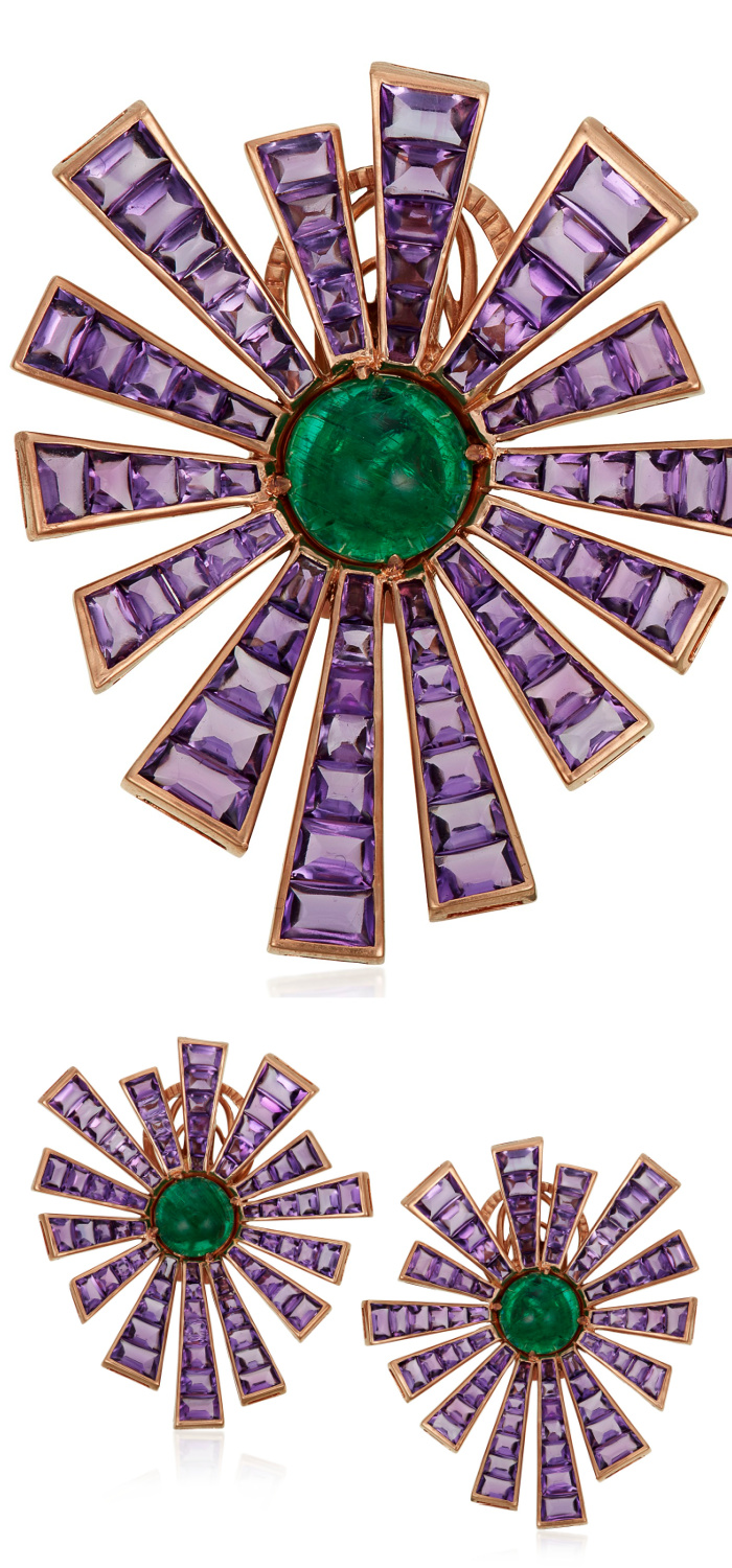 Michele della Valle earrings with buff-top amethyst, round emerald cabochon, and 18k rose gold. So cool!