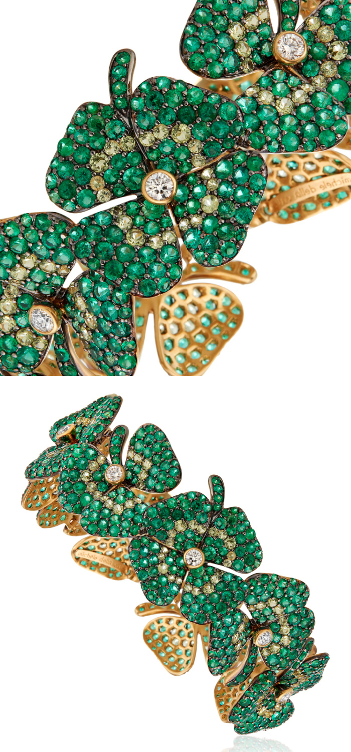 Michele della Valle four leaf clover bracelet with emeralds, peridots and diamonds in 18k yellow gold.