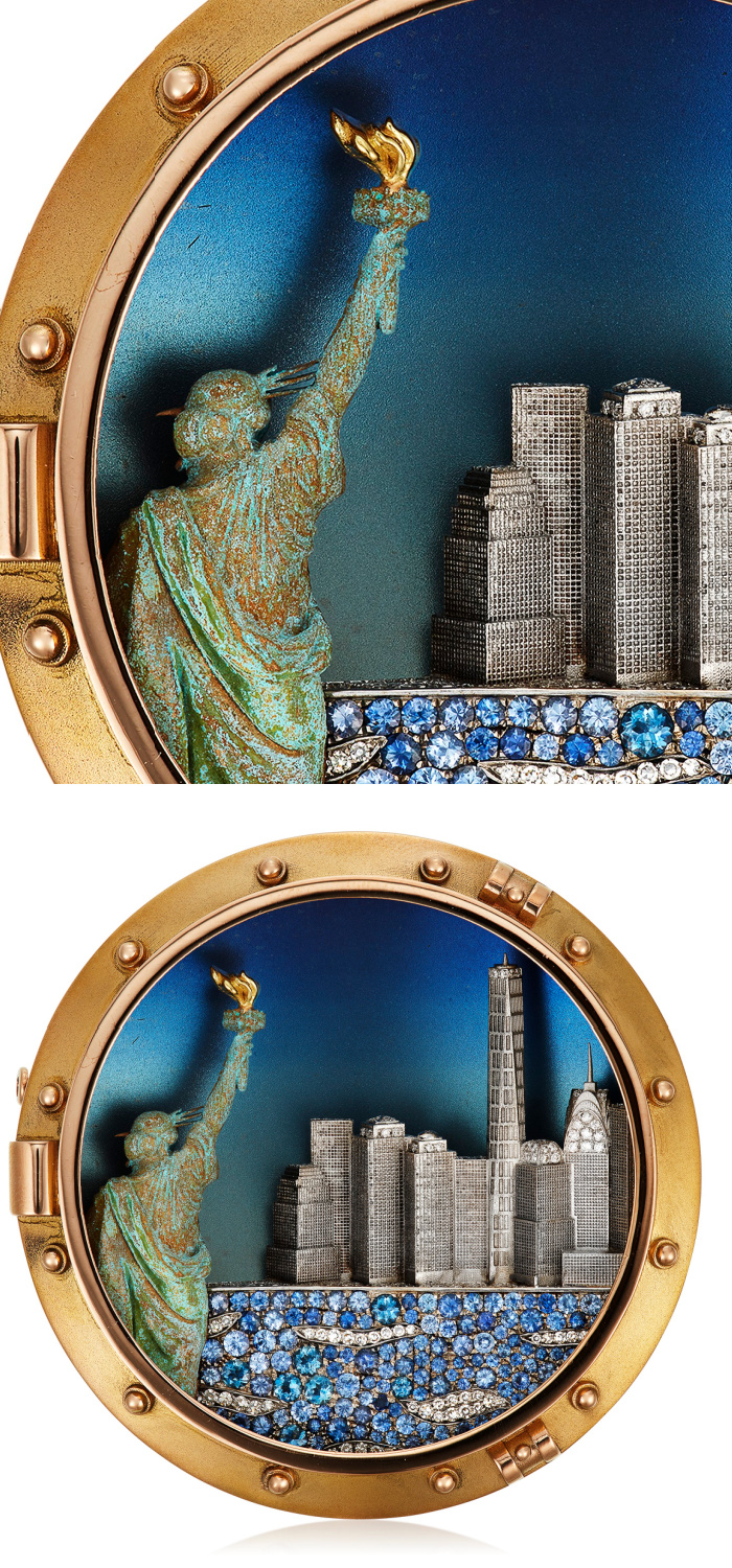 NYC brooch by Michele della Valle showing the Statue of Liberty and the New York City skyline. In titanium and copper with diamonds, sapphires, and gold.