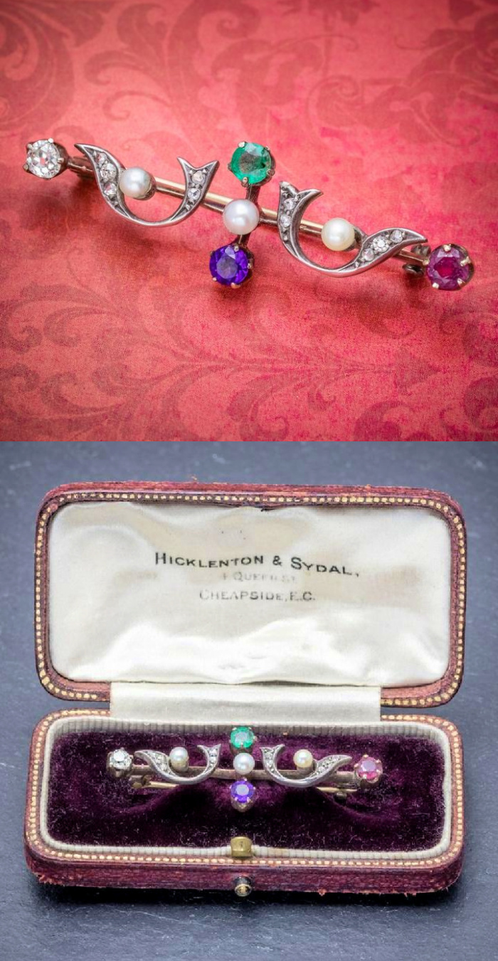 This early Victorian era brooch is an acrostic jewel! The colorful gems spell DEAR and it comes in its original box. From Laurelle Antique Jewellery.