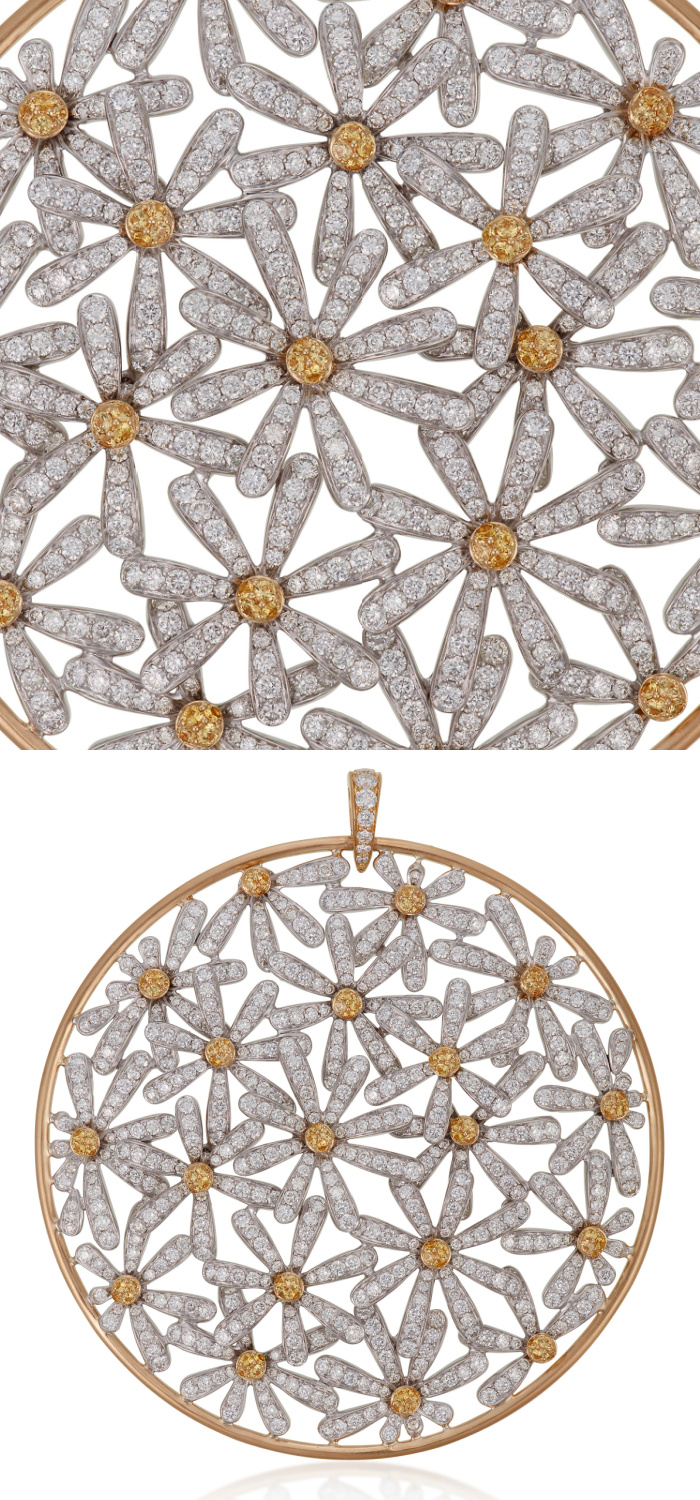 This flower pendant by Michele della Valle features bright yellow sapphire and diamond flowers.