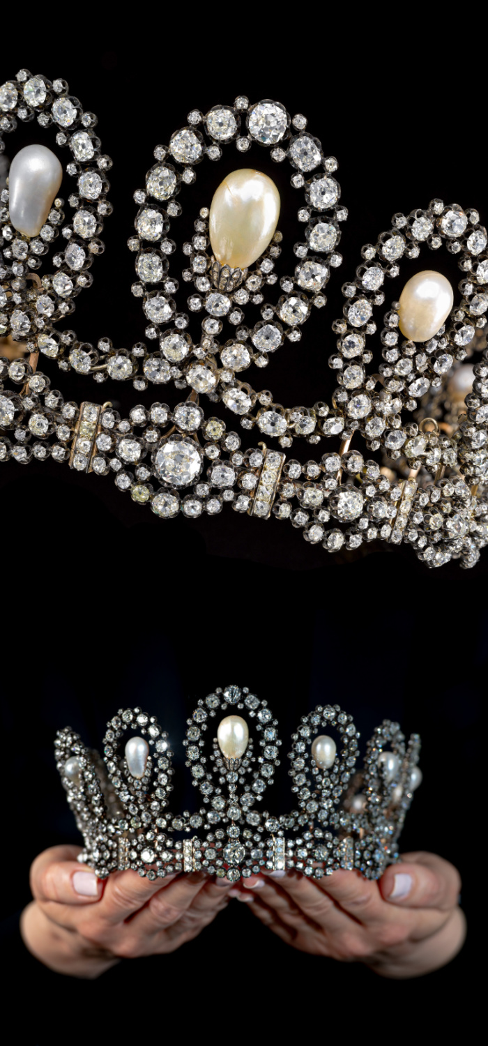 A historic royal tiara by Musy, made of natural pearls and diamonds. Via Sotheby's.
