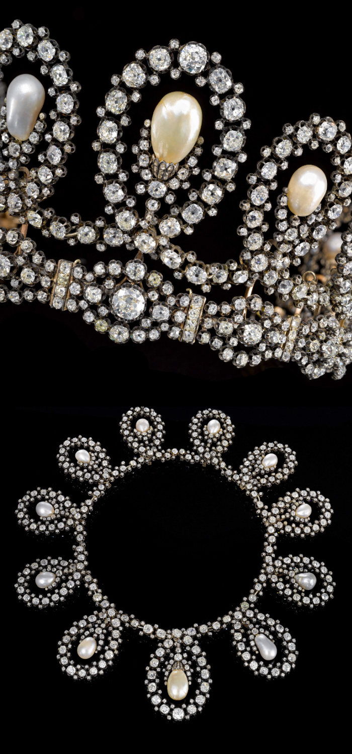 This exquisite royal tiara dates to the later half of the 19th century and can transform into a necklace. Diamonds and natural pearls! Via Sotheby's.
