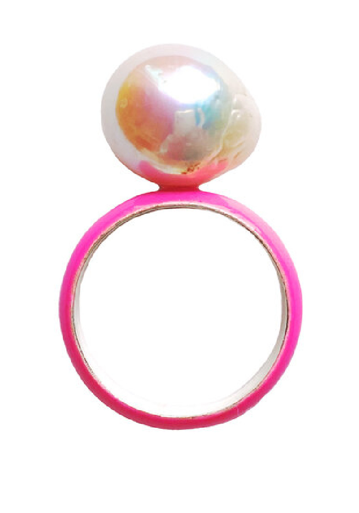 Fry Powers pearl ring with neon pink enamel and baroque pearl. So fun!