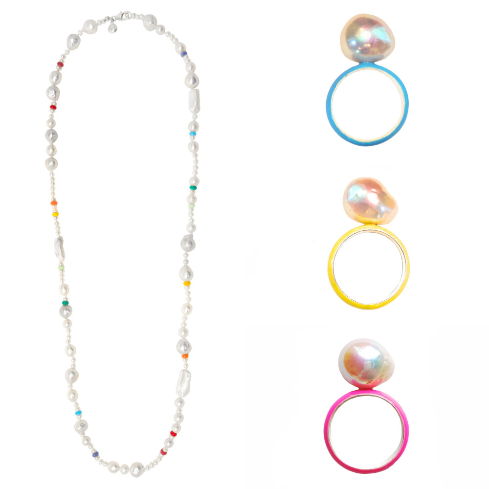Long rainbow pearl necklace and colorful enamel and pearl rings from Fry Powers.
