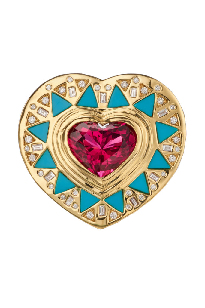 Cleopatra's Heart ring by Harwell Godfrey. With rubellite, turquoise, and diamonds.