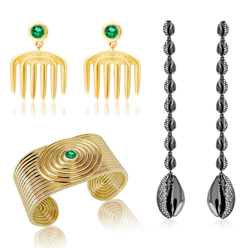 Deisgns by ALMASIKA from Sotheby's Brilliant & Black, an exhibition of work by Black jewelers