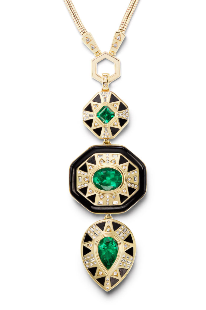 Muzo emerald totem pendant by Harwell Godfrey, in 18K uellow gold with emeralds and diamonds.