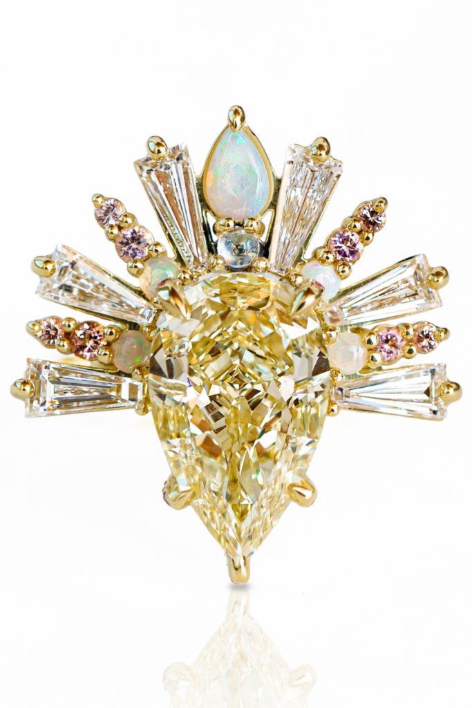 The Sunburst ring by Maggi Simpkins, with a pear-shaped yellow diamond, baguette diamonds, moonstone, peach sapphires and pink tourmaline What a beauty!