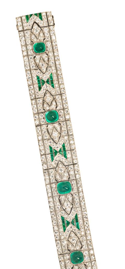A beautiful antique Art Deco emerald and diamond bracelet from Tiina Smith