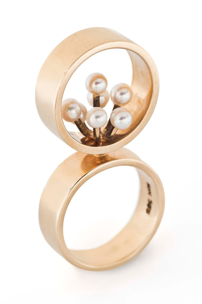 A gold and pearl ring by Danish modernist Hans Hansen. From Tiina Smith.