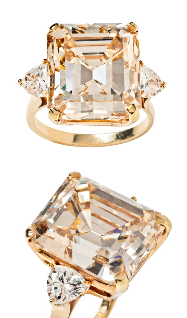 A magnificent 16.77 carat fancy light brown diamond ring from Tiina Smith. Would have major Elizabeth Taylor vibes as an engagement ring!