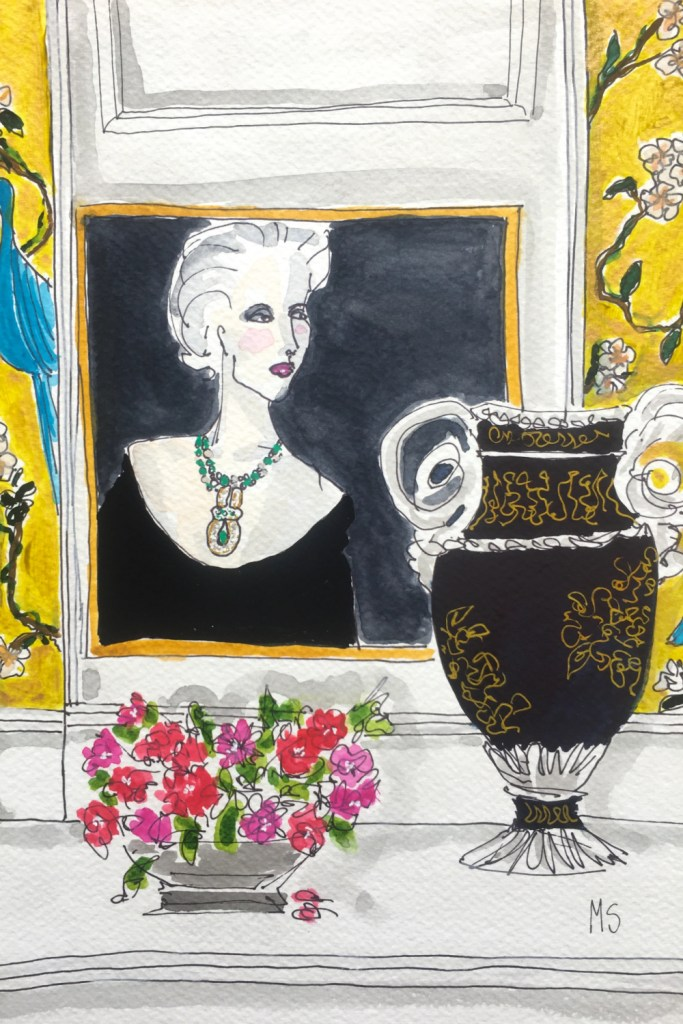 Artwork from the A Year in Jewels series by Fashion Illustrator Manuel Santelices, featuring the jewelry collection of Tiina Smith.