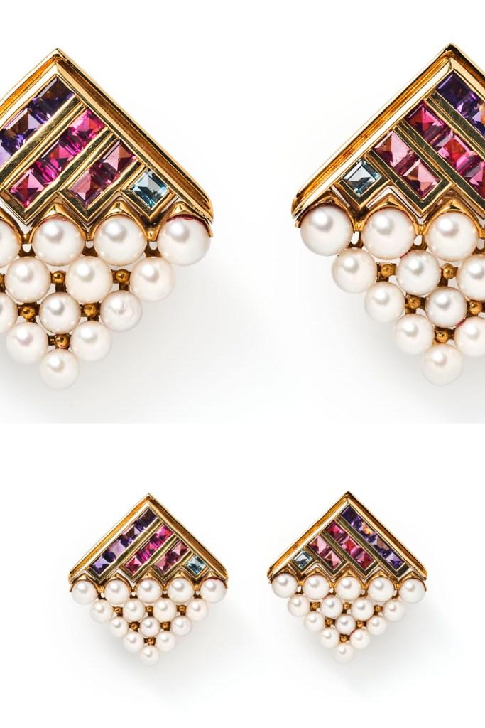 Bulgari gemstone and pearl earrings in gold, from Tiina Smith.