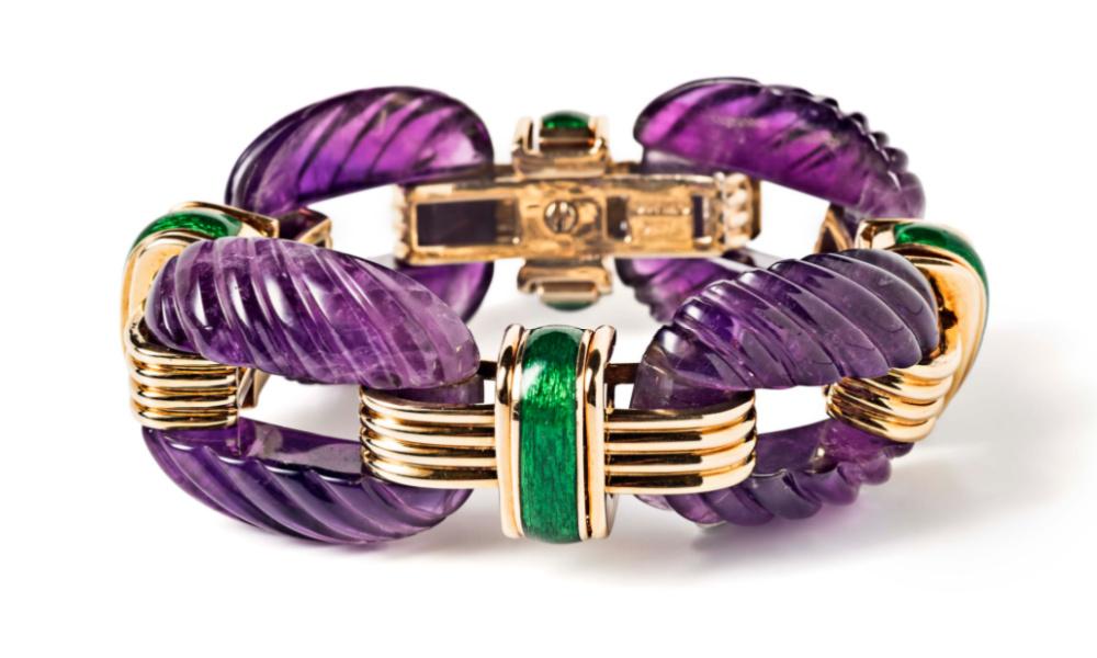 David Webb bracelet with amethyst, green enamel, gold, and diamonds. From Tiina Smith.