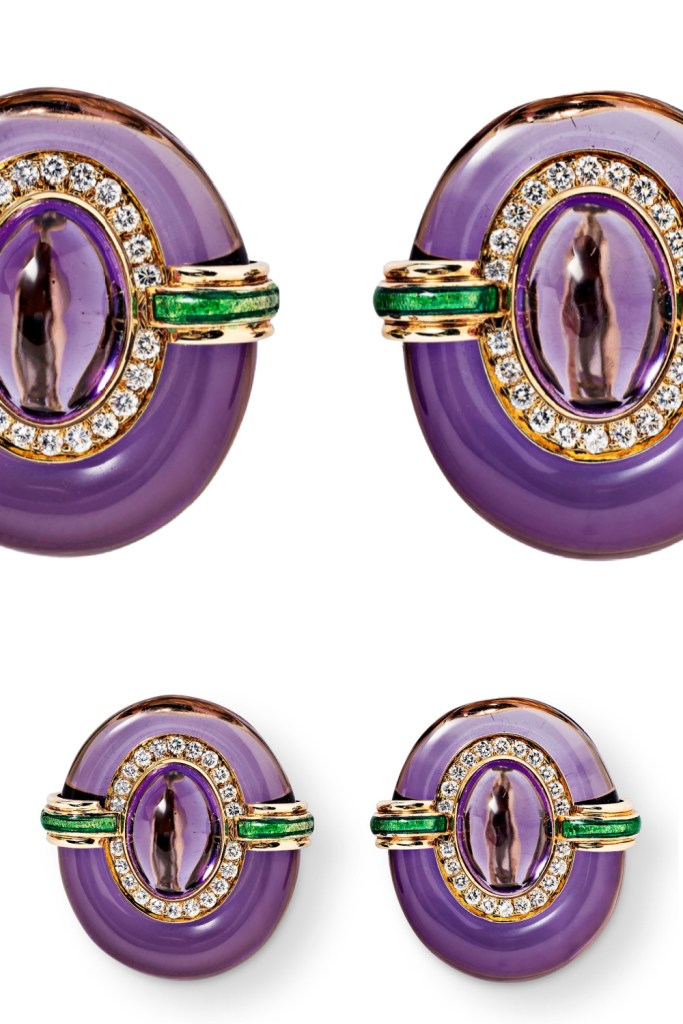 David Webb earrings featuring amethyst with green enamel, gold, and diamonds. From Tiina Smith.