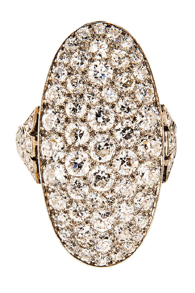 Glorious Art Deco diamond and plantium cocktail ring.