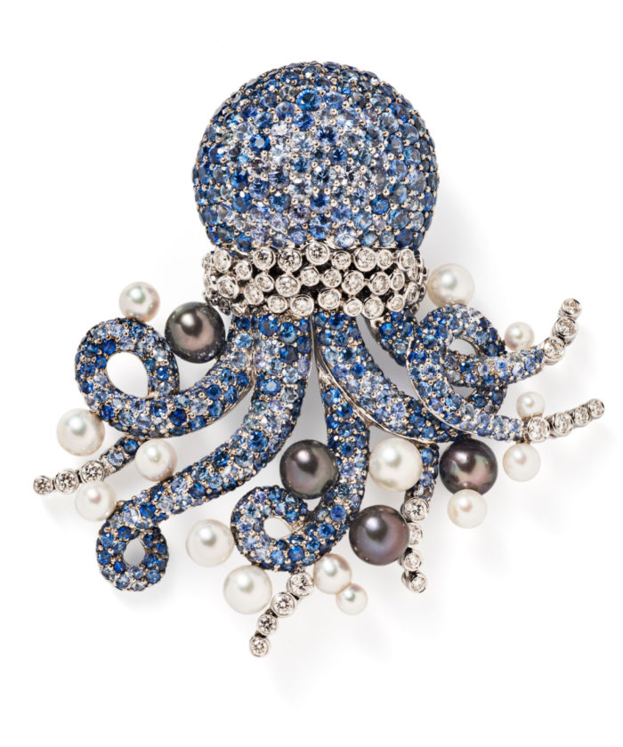 Michele della Valle brooch with sapphires, diamonds and pearls; in the shape of an octopus. From Tiina Smith