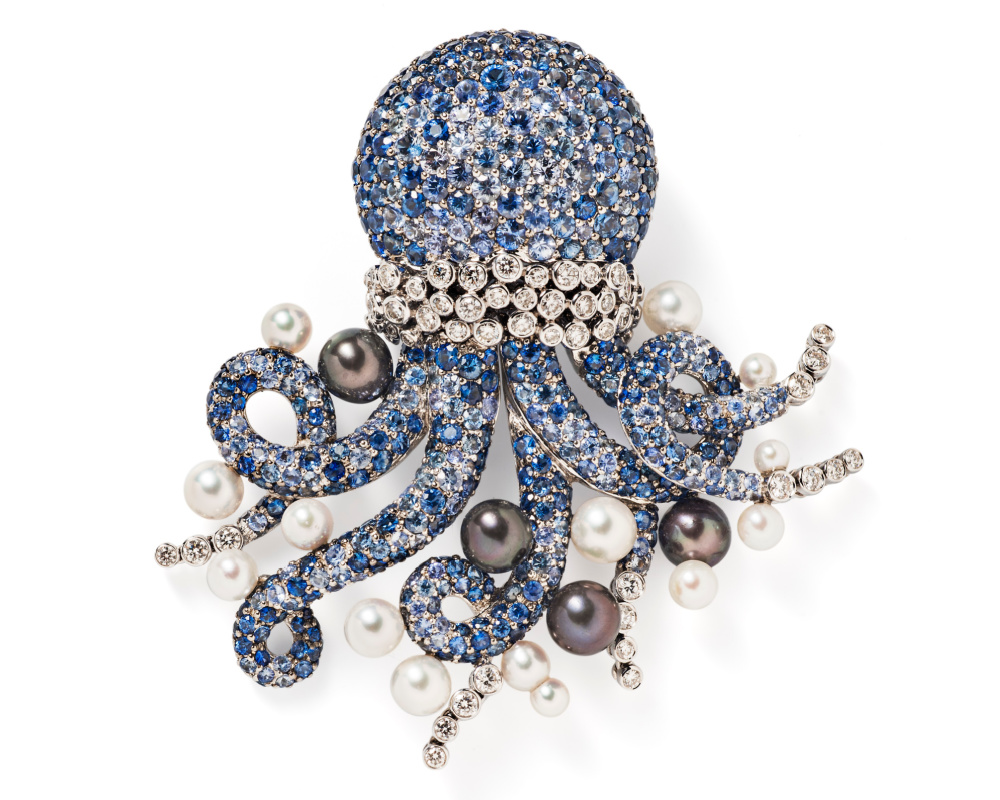 Michele della Valle sapphire and diamond octopus brooch from Tiina Smith