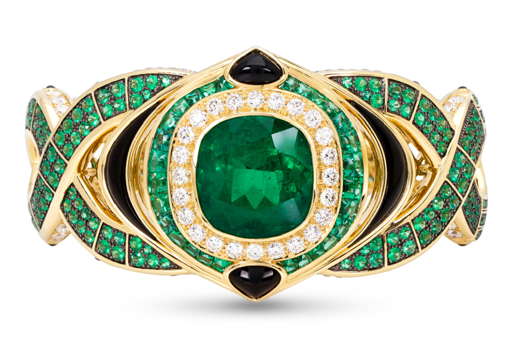 The Salvia emerald cuff bracelet by Marina B
