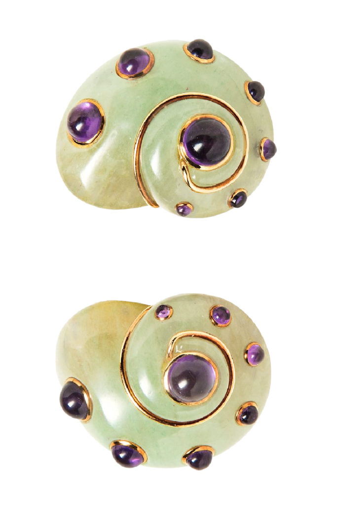 Verdura earrings with carved adventurine and amethyst cabochons. From Tiina Smith.