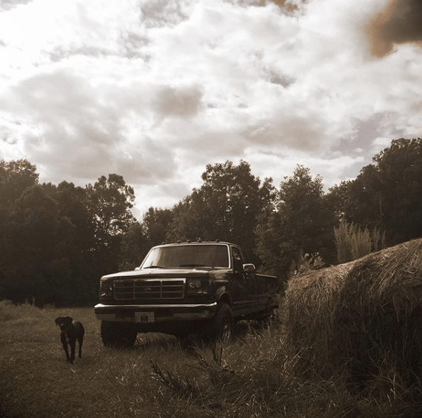 my last vehicle I'll ever need (the last vehicle you'll ever need) a Black 1996 7.3 Ford F-250 Powerstroke by roundbale and dog