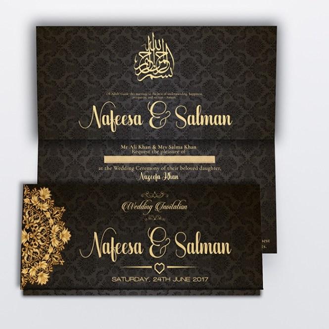 Black Royal Muslim Wedding Card