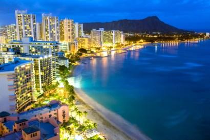 This image shows Waikiki beach in Honolulu, Hawaii.